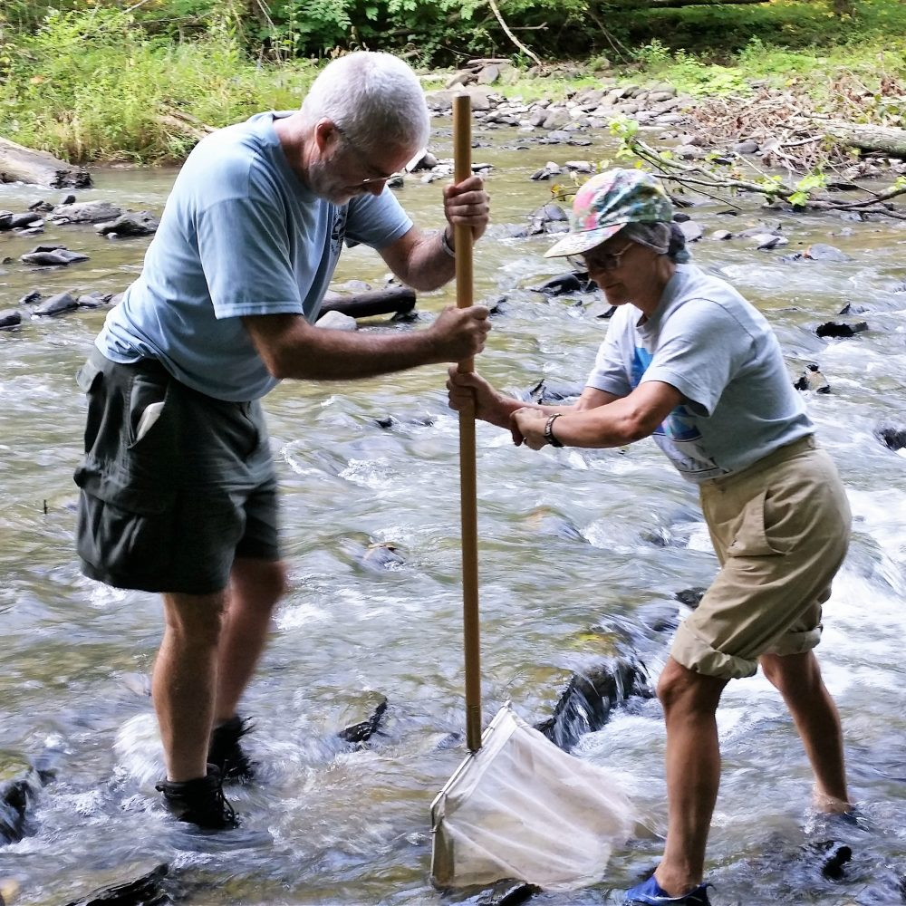 Biomonitoring volunteers  collect a BMI sample using a kicknet on Six Mile Creek.